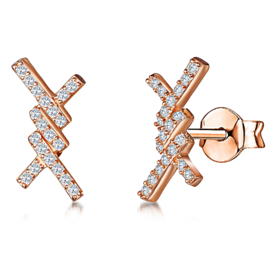 Rose Gold Criss Cross Studs